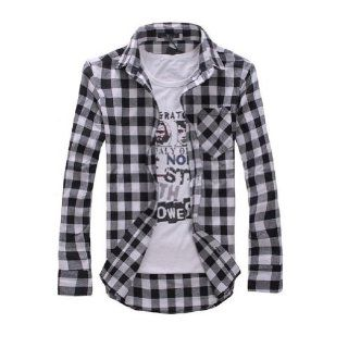 2013 New Arrival, Long Sleeve Plaid Shirts for Men, Turn down Collar Shirt, Fashion Slim Style (COLOR  WHITE PLAID  SIZE  XXL) Clothing