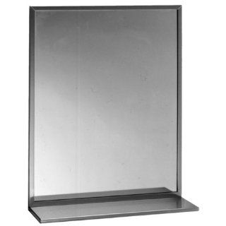 "Bobrick 166 Series 430 Stainless Steel Channel Frame Glass Mirror with Shelf, Bright Finish, 18"" Width x 24"" Height"