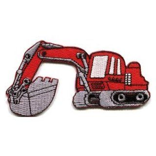 Backhoe Digger Tractor Loader Trackhoe Bulldozer Red Appliques Hat Cap Polo Backpack Clothing Jacket Shirt DIY Embroidered Iron On / Sew On Patch #2 Arts, Crafts & Sewing