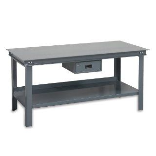 "Durham Steel Super Heavy Duty Workbench with Drawer, HWB 3660 177D 95, 14000 lbs Capacity, 36"" Length x 60"" Width x 34"" Height, Gray Powder Coat Finish Service Carts"