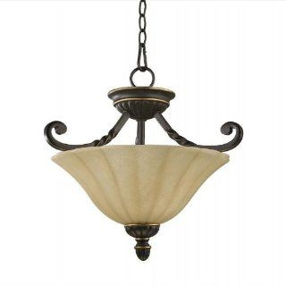 Tribeca 17 inch Old World 2 Light Semi Flush Ceiling Light