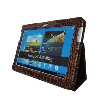 Stand Leather Crocodile Style Cover Case for Samsung Galaxy Note Ii 2 N8000 Brown Colour Cell Phones & Accessories