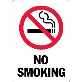 "Lyle Signs Engineer Grade Reflective Sheeting On Aluminum OSHA Safety Sign with Symbol, ""NO SMOKING"", 14"" Length x 10"" Width, Red and Black on White"