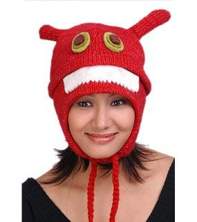 Animal Face Hat with Flap Ears and Poms Red ALIEN MONSTER HAT Unisex Winter Ski Hat Cap Teen or Adult Size Warm Gift Cute
