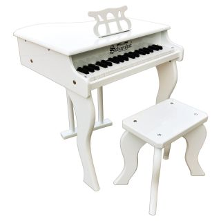 Schoenhut 37 Key White Elite Baby Grand Piano   Kids Musical Instruments