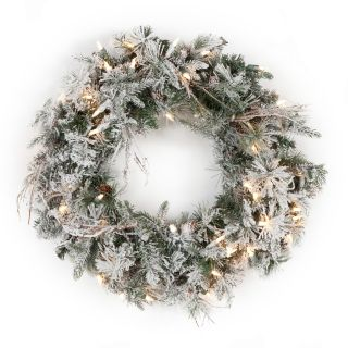 Frosted Whistler Fir Pre Lit Wreath   Christmas Wreaths