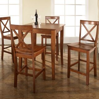 Crosley 5 Piece Pub Dining Set with Cabriole Leg and X Back Stools   Indoor Bistro Sets