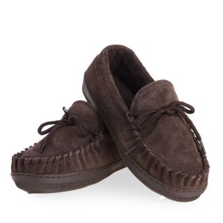 Lamo Womens Suede Moccasin Slippers   Chocolate   Womens Slippers