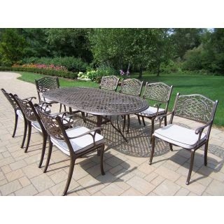 Oakland Living Mississippi Cast Aluminum 82 x 42 in. Oval Patio Dining Set   Seats 8   Patio Dining Sets