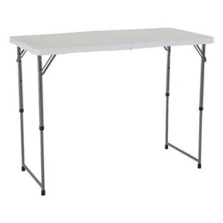 Lifetime 4 ft. Rectangle Light Commercial Fold In Half Adjustable Folding Table   White   Banquet Tables