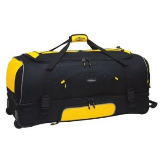 Travelers Club 30 in. 2 Section Drop Bottom Rolling Duffel Bag   Yellow/Black   Sports & Duffel Bags