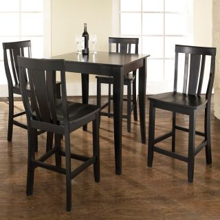 Crosley 5 Piece Pub Dining Set with Cabriole Leg and Shield Back Stools   Indoor Bistro Sets