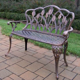 Oakland Living Tulip Cast Aluminum Loveseat Bench in Antique Bronze finish   Outdoor Benches