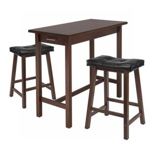 Winsome 3 Piece Cozy Kitchen Table Set with 2 Cushion Saddle Seat Stools   Dining Table Sets