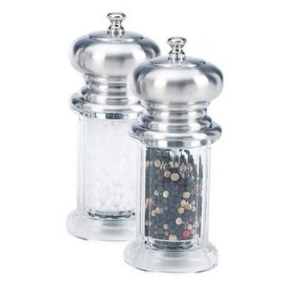 William Bounds Diner Dual Mill Set with Brushed Top   Salt and Pepper Mills