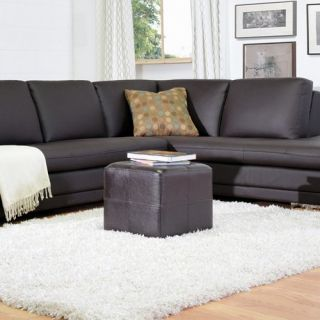 Baxton Studio Vernaccia Leather Ottoman   Dark Brown   Ottomans