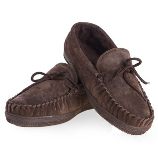 Lamo Mens Suede Moccasin Slippers   Chocolate   Mens Slippers