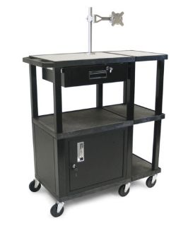 Luxor Extra Wide Laptop Presentation Cart with Monitor Mount and Security Cabinet   Black/Gray   Commercial Computer Carts