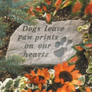 Dogs Leave Paw Prints Pet Memorial Accent Stone   Garden & Memorial Stones