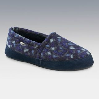 Acorn Mens Polar Moc Slip on Slippers in Navy Woodblock   Mens Slippers