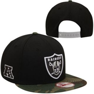New Era Oakland Raiders 9FIFTY Woodland Camo Snapback Hat   Black/Camo