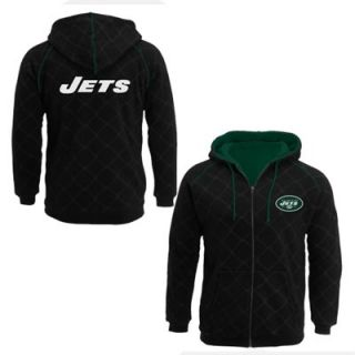 Pro Line New York Jets Big Sizes Windowpane Full Zip Hoodie   Black