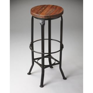 Butler Iron & Recycled Wood Seat Backless Bar Stool   Bar Stools