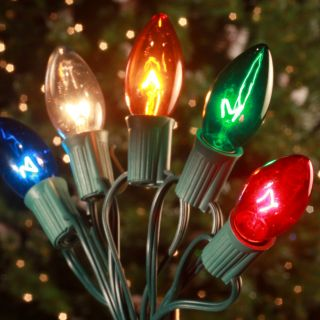 Brite Ideas 25 Bulb C9 Incandescent Transparent Light Set   Multi Color   Christmas Lights