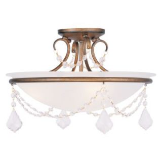 Livex Pennington 6524 48 3 Light Ceiling Mount in Antique Gold Leaf   Ceiling Lighting