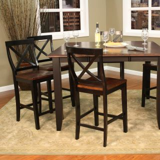 AHB Rosetta 7 Piece Two Tone Counter Height Set with Camden Stools   Dining Table Sets