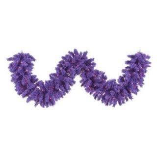 Vickerman 9 ft. Flocked Purple Pre lit Garland   Christmas Garland