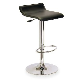 Winsome Wood Single Adjustable/Swivel Backless Air Lift Bar Stool Black   Bar Stools