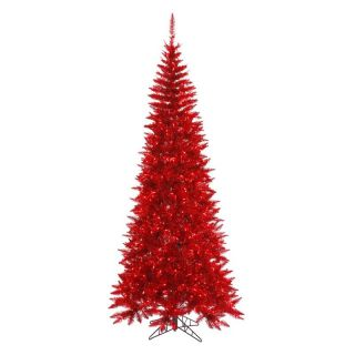 Vickerman Tinsel Red Slim Fir Pre lit Christmas Tree   Christmas Trees