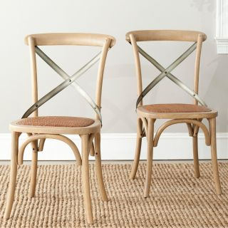 Safavieh Logan X Back Dining Side Chairs   Natural Oak   Set of 2   Dining Chairs