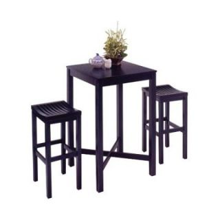 Home Styles Parker Pub Table 3 piece Set   Black with Black Top   Pub Tables