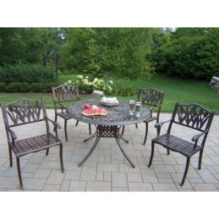 Oakland Living Capitol Cast Aluminum 48 in. Tulip Patio Dining Set   Seats 4   Patio Dining Sets