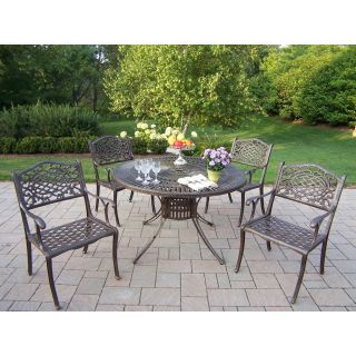 Oakland Living Sunray Cast Aluminum 48 in. Mississippi Patio Dining Set   Seats 4   Patio Dining Sets