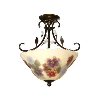 Dale Tiffany Cosmos Hand Painted Semi Flush Mount   15 watt in. Antique Golden Sand   Tiffany Ceiling Lighting