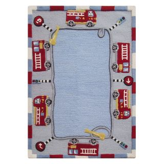 nuLOOM Fire Trucks SEKD02 36056 Area Rug   Blue   Area Rugs