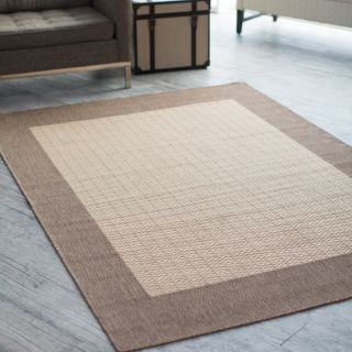 Couristan Recife Checkered Field Indoor/Outdoor Area Rug   Natural/Cocoa   Area Rugs