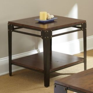 Steve Silver Barrett Square Distressed Tobacco Wood and Metal End Table   End Tables
