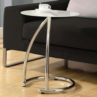 Monarch Round Chrome Metal Accent Table with Frosted Tempered Glass   End Tables
