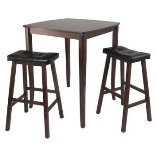Winsome Inglewood 3 Piece Pub Table Set with Cushioned Saddle Stools   Pub Tables