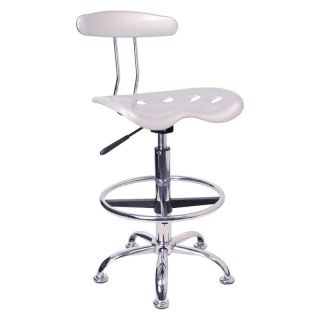 Vibrant Drafting Stool with Tractor Seat   Silver and Chrome   Drafting Chairs & Stools