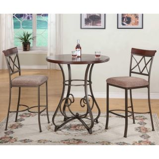 Powell Hamilton 3 piece Pub Table Set with Stationary Stools   Dining Table Sets
