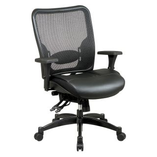 Office Star Professional Breathable Mesh Black Back and Layered Leather Seat Ergonomic Chair with Adjustable Lumbar Support   Desk Chairs