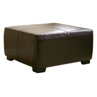 Baxton Studio Hortensio Square Leather Ottoman   Dark Brown   Ottomans