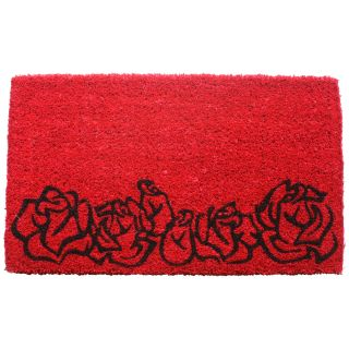 Red Roses Hand Woven Coir Doormat   Outdoor Doormats