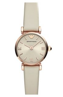 Emporio Armani Round Leather Strap Watch, 22mm