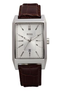 BOSS HUGO BOSS Rectangular Leather Strap Watch, 22mm x 33mm